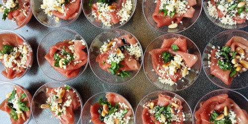 Carpaccio in mini cups